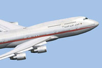 Screenshot of United Arab Emirates Boeing 747-400 in the air.