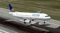 Screenshot of United/Continental Airbus A320 taking off from runway.