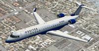 Screenshot of United Express CRJ-700 in flight.