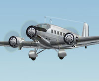 Screenshot of Unmarked Junkers Ju 52 in flight.