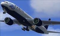 VARIG Boeing 777-200ER raising landing gear.