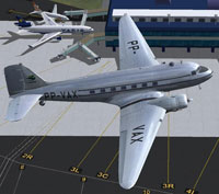 Screenshot of VARIG Douglas C-47 shortly after take-off.