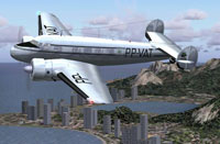Screenshot of VARIG Lockheed Electra L10A flying past a coastal city.
