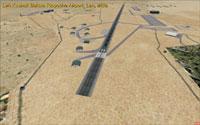 Aerial view, looking up runway 25.