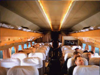 Colour photograph from 1961 of DC-4 cabin. Taken by Mel Lawrence.