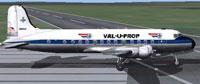Screenshot of Val-U-Prop Douglas DC-4 on runway.