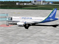 Screenshot of Valuair Airbus A320 on the ground.