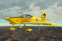Screenshot of yellow Vans RV7A in flight.