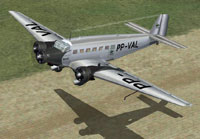 Screenshot of Varig Junkers Ju-52 taking off from a dirt runway.
