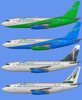 Image showing four different liveries for the Venezolana Boeing 737-200.