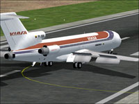 Screenshot of Viasa Boeing 727-200 on runway.