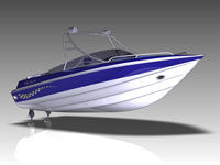 The Malibu32 motor boat in blue and white.