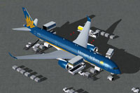 Screenshot of Vietnam Airlines Airbus A350-900 with ground services.