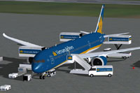 Screenshot of Vietnam Airlines Boeing 787-9 with ground services.