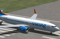 Screenshot of Viking Airlines Boeing 737-800 on runway.