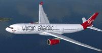 Screenshot of Virgin Atlantic Airbus A330-343X in flight.