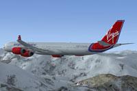 Screenshot of Virgin Atlantic Airbus A340-600 in flight.