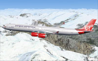 Screenshot of Virgin Atlantic Airways Airbus A340-600 in flight.