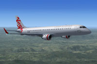 Screenshot of Virgin Australia Embraer 190 in flight.