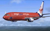 Screenshot of Virgin Blue Boeing 737-800 in flight.