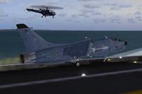 Screenshot of Vought F8 Crusader on carrier.