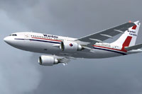 Screenshot of Wardair Airbus A310-300 in flight.
