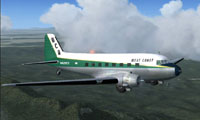 Screenshot of West Coast Airlines Douglas DC-3 in flight.