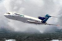 Screenshot of WestJet Boeing 727-200 in flight.