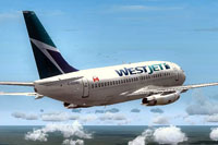 Screenshot of WestJet Boeing 737-200 in flight.