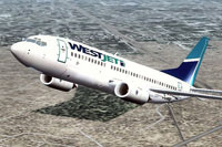 Screenshot of WestJet Boeing 737-300 in flight.
