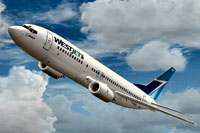 Screenshot of WestJet Boeing 737-400 in flight.