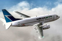 Screenshot of WestJet Boeing 737-500 in flight.