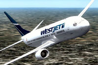 Screenshot of WestJet Boeing 737-900 in flight.