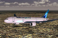 Screenshot of WestJet Boeing 787-800 in flight.