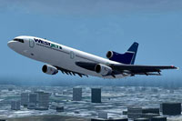 Screenshot of WestJet Lockheed L1011 in flight.