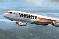 Screenshot of Western Airlines Boeing 707-320C Special in flight.