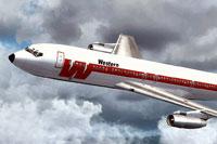 Screenshot of Western Airlines Boeing 707-320C in flight.