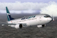 Screenshot of Westjet Boeing 737-800 in flight.