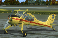 Screenshot of yellow and red Wilga X on the ground.