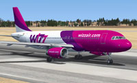 Screenshot of Wizz Air Airbus A320-232 on runway.