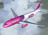 Screenshot of Wizz Air Airbus A320 in flight.