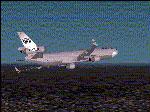 Screenshot of World Airways MD-11 in flight.