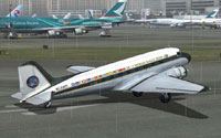 Screenshot of World Rally 2009 Douglas DC-3 on runway.