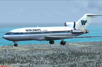 Screenshot of Worldways Canada Boeing 727-100 in flight.