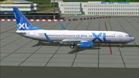 Screenshot of XL Airways Boeing 737-800 on the ground.