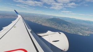 Airbus A320 wing with Mount Vesuvius in the background.