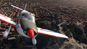 Mudry CAP 10 over town terrain in Microsoft's new flight simulator.