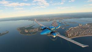 Blue Diamond DA62 over coastline.