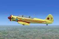 Screenshot of Yakovlev Yak-18 Soviet Air Force Trainer in flight.