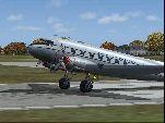 Screenshot of Yankee Air Douglas DC-3 on runway.